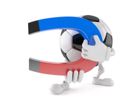 Soccer ball character holding horseshoe magnet isolated on white background