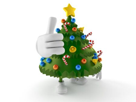 Christmas tree character with thumbs up gesture isolated on white background