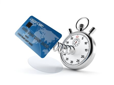 Credit card with stopwatch isolated on white background