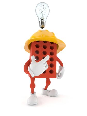 Brick character with Light bulb isolated on white background
