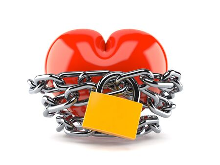 Heart with chain and padlock isolated on white background