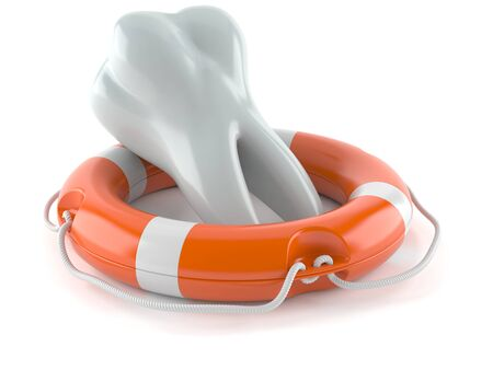 Life buoy with tooth isolated on white background