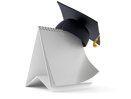 Mortarboard with blank calendar isolated on white background