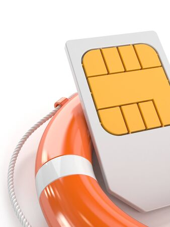 SIM card with life buoy isolated on white background
