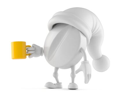 Tablet character with mug isolated on white background