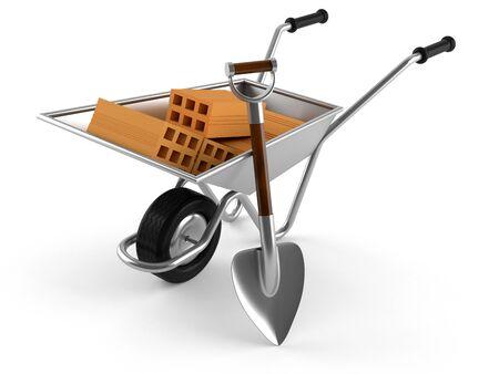Wheelbarrow with shovel isolated on white background