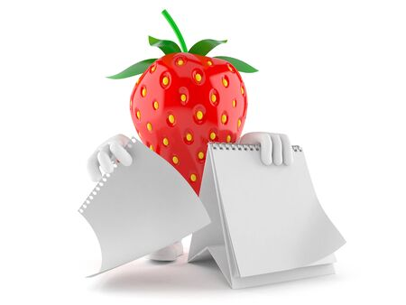Strawberry character with blank calendar isolated on white background Standard-Bild