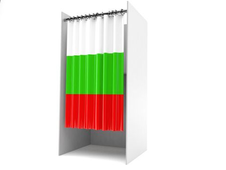 Vote cabinet with bulgarian flag isolated on white background
