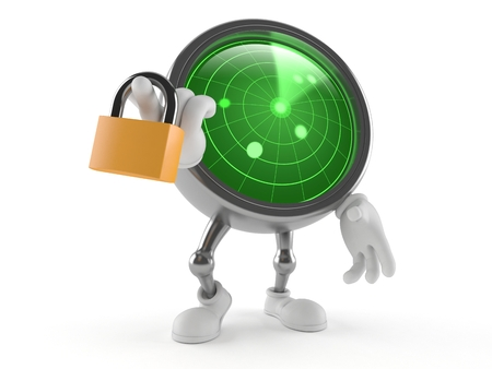 Radar character with padlock isolated on white background Stock Photo
