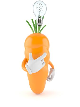 Carrot character thinking on white background Stock Photo