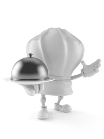 Chef character holding catering dome isolated on white background