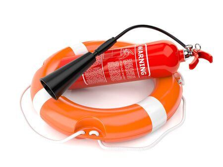 Life buoy with fire extinguisher isolated on white background
