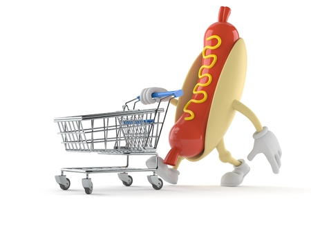 Hot dog character with shopping cart isolated on white background Stock Photo