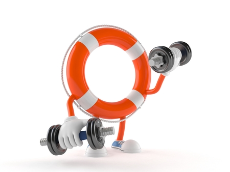 Life buoy character with dumbbell isolated on white background
