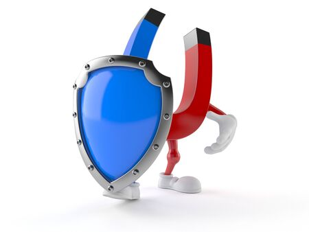 Magnet character with protective shield isolated on white background