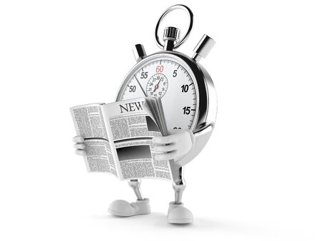Stopwatch character reading newspaper on white background Stock Photo