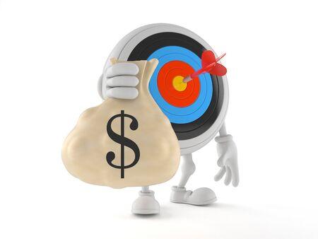 Bulls eye character holding money bag isolated on white background