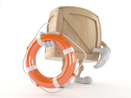 Crate character holding life buoy isolated on white background
