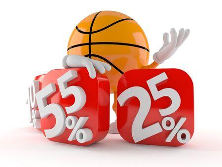 Basketball with percent symbols isolated on white background Stock Photo