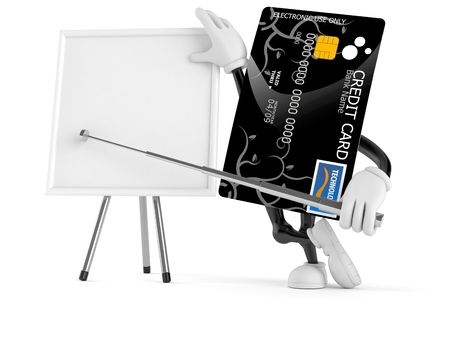 Credit card character with blank whiteboard isolated on white background