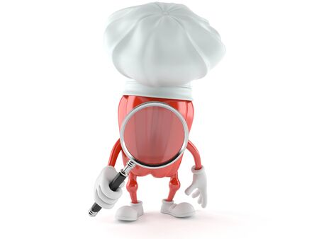 Chef character looking through magnifying glass isolated on white background