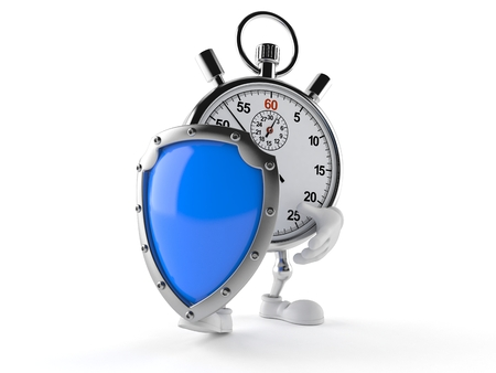 Stopwatch character with protective shield isolated on white background Stock Photo
