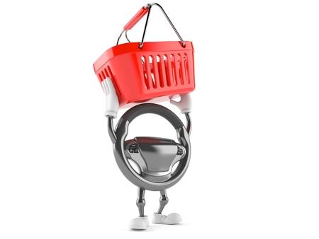 Car steering wheel character holding shopping basket isolated on white background Stock Photo