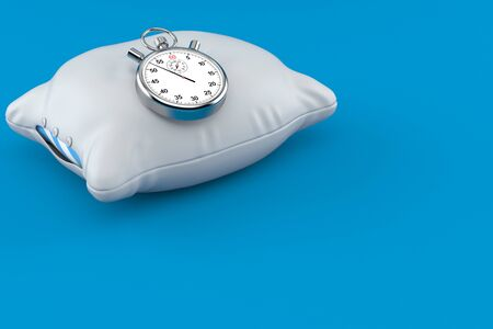 Pillow with stopwatch isolated on blue background