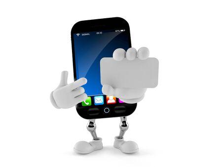 흰색 배경에 고립 된 스마트 전화 문자 들고 빈 명함 스톡 콘텐츠