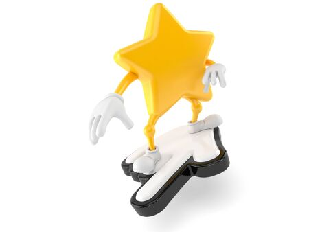 Star character surfing on cursor isolated on white background