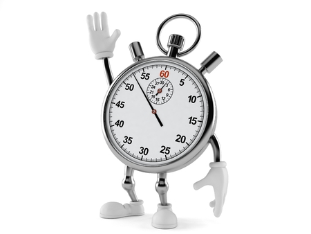 Stopwatch character with hand up isolated on white background Stock Photo