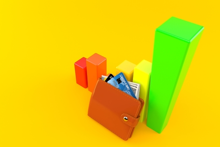 Wallet with chart isolated on orange background Stock Photo