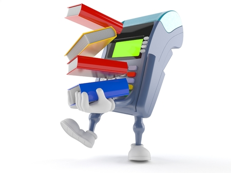Credit card reader character carrying books isolated on white background
