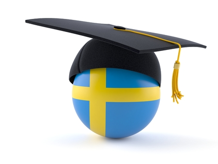 Mortarboard with swedish flag isolated on white background Stock Photo