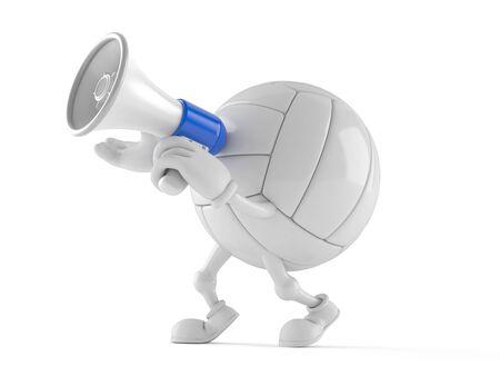 白い背景に隔離されたメガホンを通して話すバレーボールのキャラクター