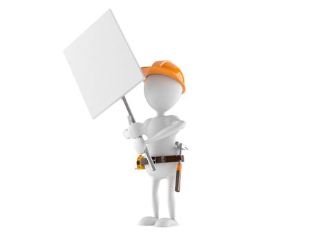 Manual worker with signboard isolated on white background