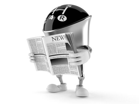 Gear knob character reading newspaper on white background