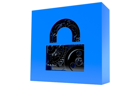 Secure box with gears isolated on white background Stock Photo