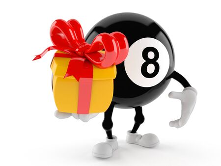 Eight ball character holding gift isolated on white background