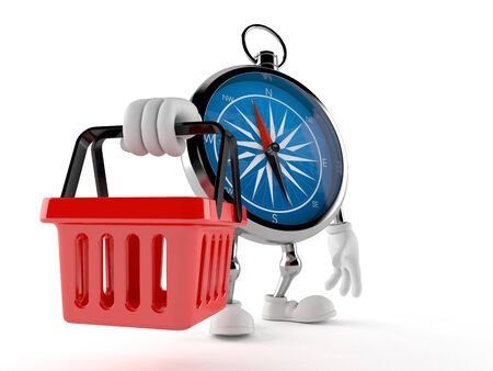 Compass character holding shopping basket isolated on white background