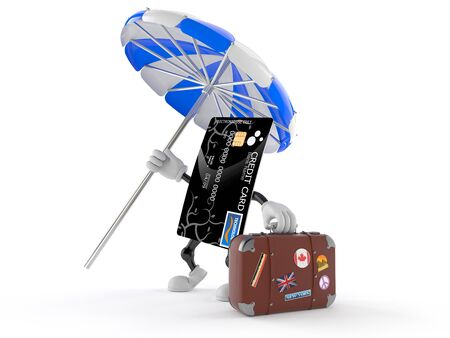 Credit card character with luggage isolated on white background Stock Photo