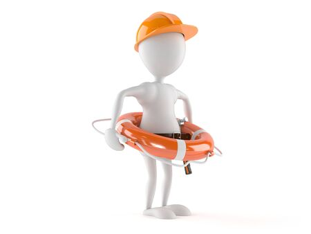 Manual worker with life buoy isolated on white background