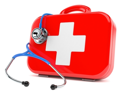 First aid kit with stethoscope isolated on white background
