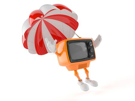 Retro TV with parachute isolated on white background