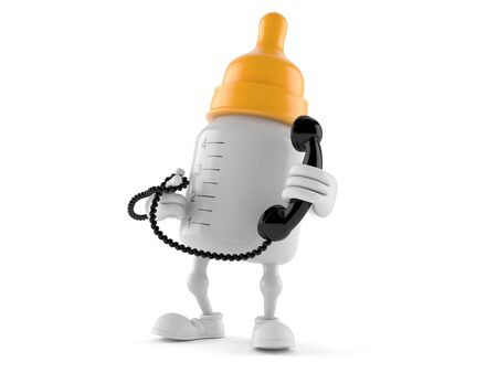 Baby bottle character holding a telephone handset isolated on white background Stock Photo