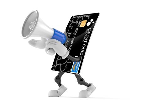 Personaje de tarjeta de crédito hablando a través de un megáfono aislado sobre fondo blanco Foto de archivo