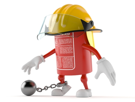Fire extinguisher character with prison ball isolated on white background