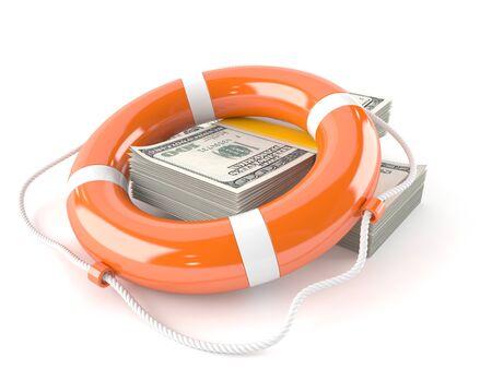Money with life buoy isolated on white background 스톡 콘텐츠