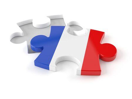 French jigsaw isolated on white background