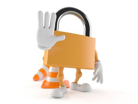 Padlock character with traffic cone isolated on white background